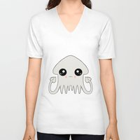 pastel goth V-neck T-shirts featuring Pastel Goth Chibi Squid by Dead Fox Clothing