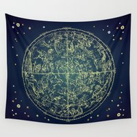 zodiac Wall Tapestries featuring Zodiac Star Map by From Flora With Love