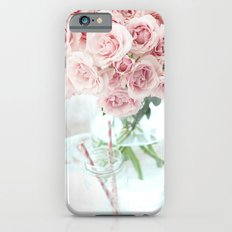 Shabby Chic Cottage Vintage Pink Pastel Roses In Clear Vase Prints and Home Decor iPhone 6s Slim Case