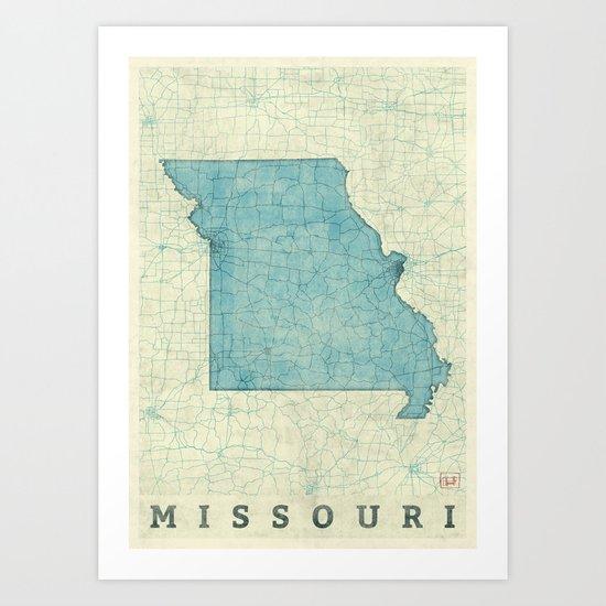 Missouri State Map Blue Vintage Art Print