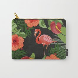 Tropical Pink Flamingo Hibicus Carry-All Pouch