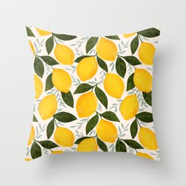 Mediterranean Summer Lemons Pattern Throw Pillow