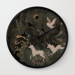 Spooky Forest with Ghosts Wall Clock