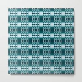 Fresh and Bright Aztec Pattern Deep Ocean Wave Seafoam Aqua Metal Print