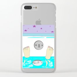 A Relaxing Warm Bubble Bath with Painted Toenails Clear iPhone Case