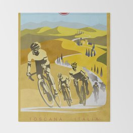Strade Bianche retro cycling classic art Throw Blanket