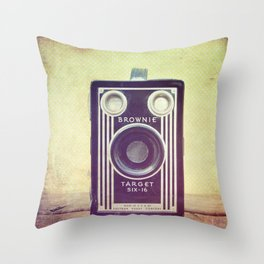 Vintage Camera Love: Cross-Processed Kodak Brownie Target Six-16! Throw Pillow
