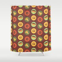junk food Shower Curtains featuring Food by Elly Whiley