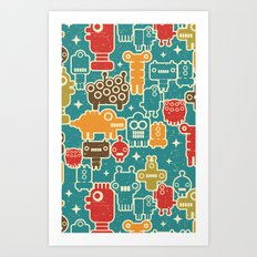 Robots on blue. Art Print