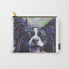 Papillon Fun Dog bright colorful Pop Art Painting by LEA Carry-All Pouch