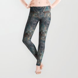 Elephant Ethnic Style Pattern Teal and Copper Leggings
