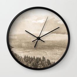 Sepia Vintage River Forest - Columbia River Gorge Wall Clock