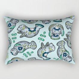 Majestic Folk Art Manatees - Pattern on Pastel Blue Rectangular Pillow