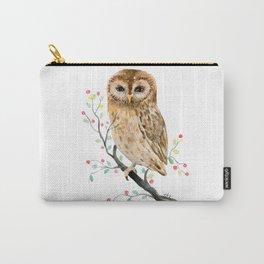 Watercolor Little Owl Portrait Carry-All Pouch