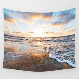 Calming Zen Neutral Colors Beach Sunset Ocean Waves Wall Tapestry