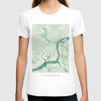 philadelphia T-shirts featuring Philadelphia Map Blue Vintage by City Art Posters