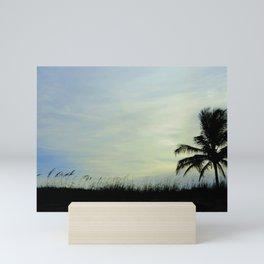 Sea oats and coconut palm at the beach Mini Art Print