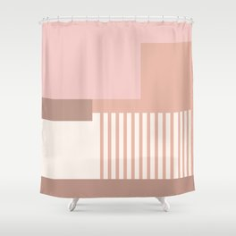 Sol Abstract Geometric Print in Pink Shower Curtain