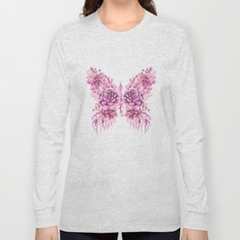 Flowery Pink Princess Butterfly Long Sleeve T-shirt