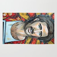 nicolas cage Area & Throw Rugs featuring Raising Arizona Nicolas Cage by Portraits on the Periphery