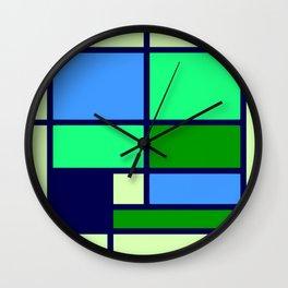 Mondrianista green blue Wall Clock