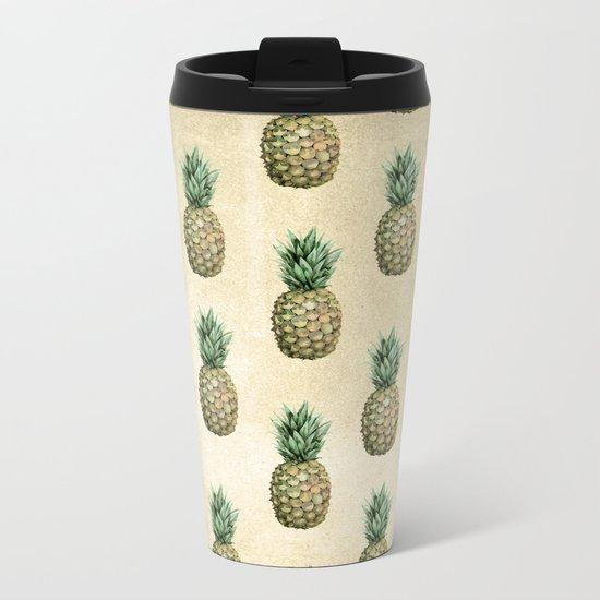 Vintage Pineapple Pattern Linen Metal Travel Mug