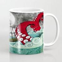 kraken Mugs featuring Kraken by Beth Naeyaert
