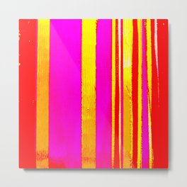 pink red yellow white stripes Metal Print