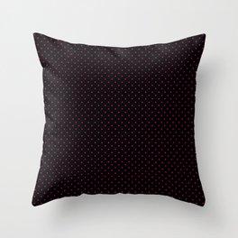 Small Dark Hot Pink on Black Polka Dots Throw Pillow