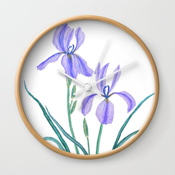 vintage purple iris watercolor Wall Clock