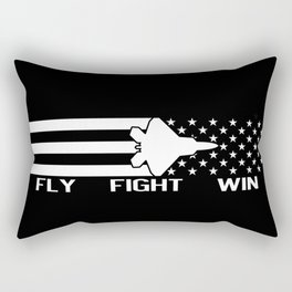 U.S. Military: F-22 - Fly Fight Win (Black Flag) Rectangular Pillow
