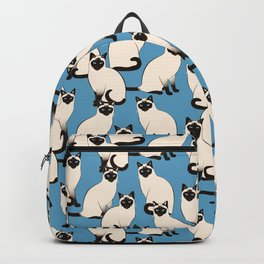 Siamese Cats crowd on blue Backpack