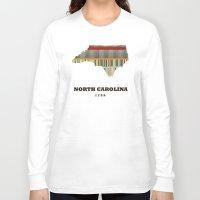 north carolina Long Sleeve T-shirts featuring North Carolina state map modern by bri.buckley