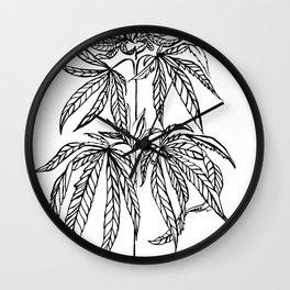 Cannabis Illustration Wall Clock