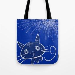 blue cat under the sun Tote Bag