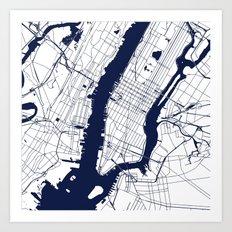New York City White on Navy Art Print