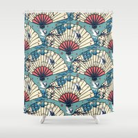 fantasy Shower Curtains featuring Oriental FanTasy by Paula Belle Flores