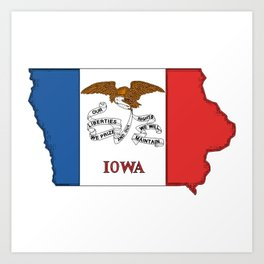 Iowa Map with Iowan Flag Art Print