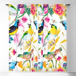 Birds Colourful Floral Motif Pattern Tropical decor Spring Flowers Blackout Curtain