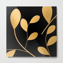 Art Deco Glam Gold Chic Floral Design Pattern Metal Print