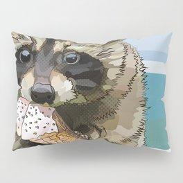 Raccoon Eating Ice-cream on the Beach | Summer Vacation | Cute Baby Animal Pillow Sham