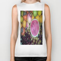 fruits Biker Tanks featuring SIMPLY FRUITS by Annie Koh