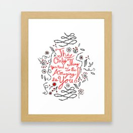 affirmations in black and red Framed Art Print