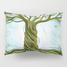 Blue and Brown Swirly Tree of Life by Renee Womack Pillow Sham