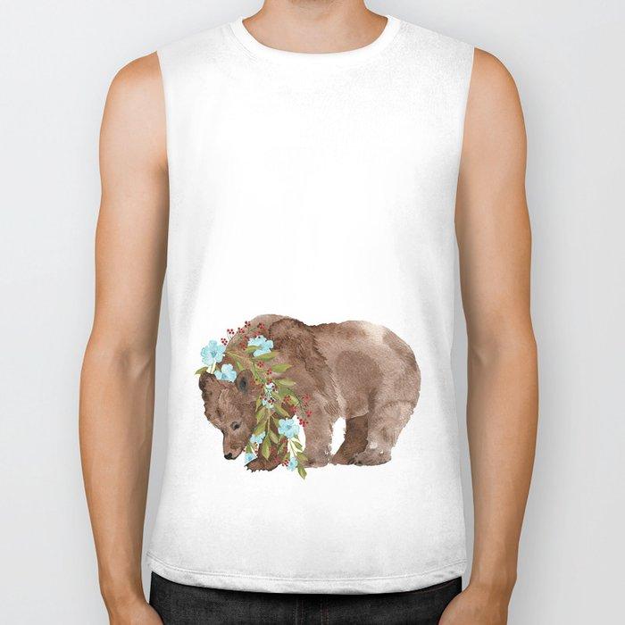 Bear with flower boa Biker Tank