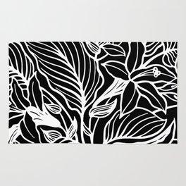 Black White Floral Minimalist Rug