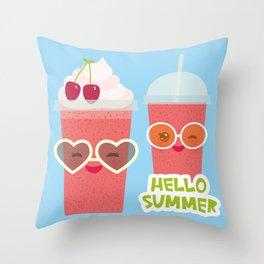 Hello Summer Kawaii cherry smoothie Throw Pillow