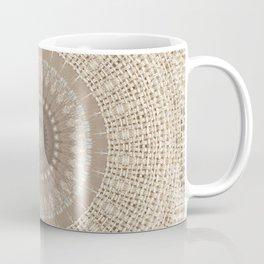 Unique Texture Taupe Burlap Mandala Design Coffee Mug