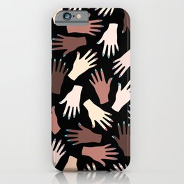 Nail Expert Studio - Colorful Manicured Hands Pattern on Black Background iPhone Case