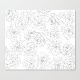Peony Flower Pattern Canvas Print